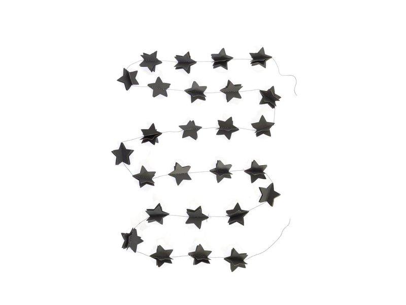Sparkling Paper garland 3d black stars