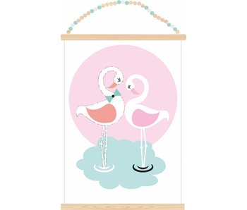 Sparkling Paper poster flamingo love