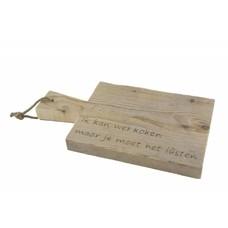 Serveerplank van steigerhout met tekst