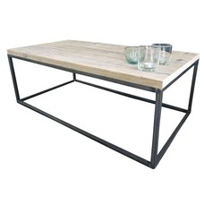 Industriële salontafel van metaal en steigerhout