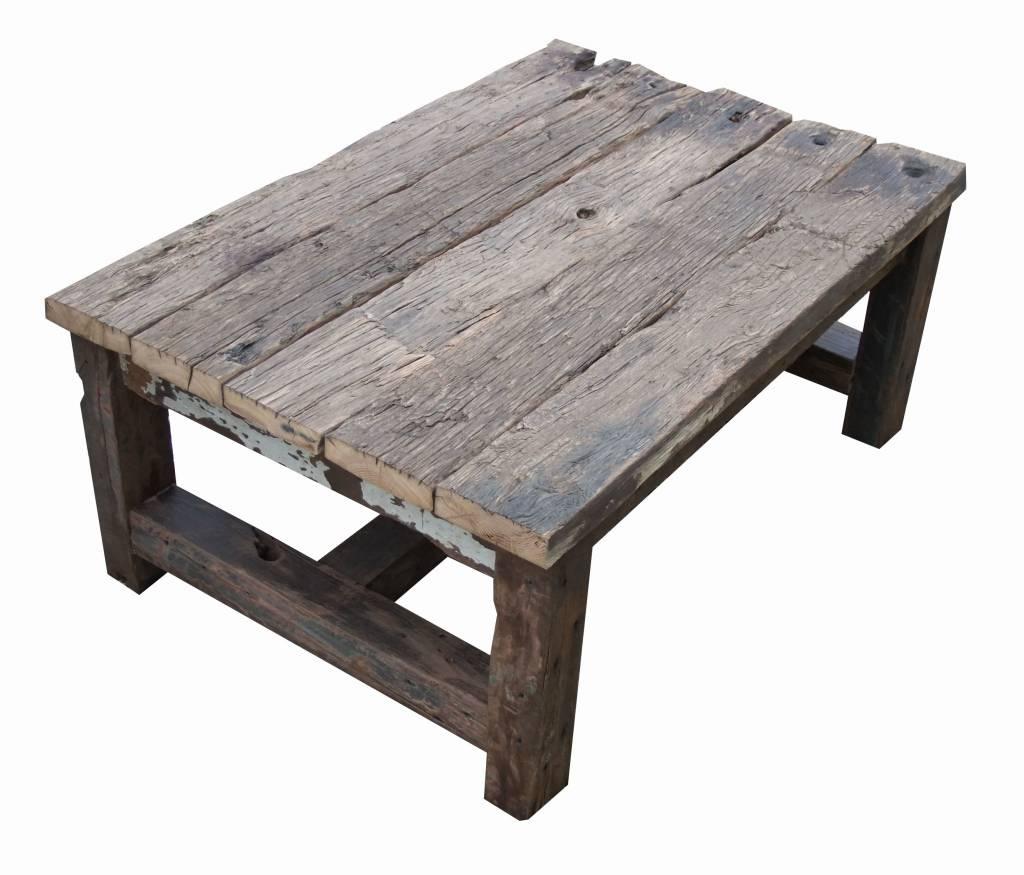 Salontafel van oude houten balken leefhuus - Salontafel ...