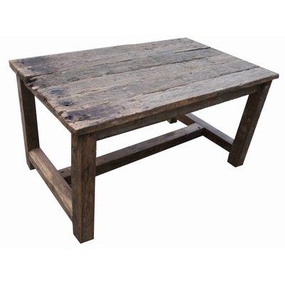 Oude houten ronde eettafel