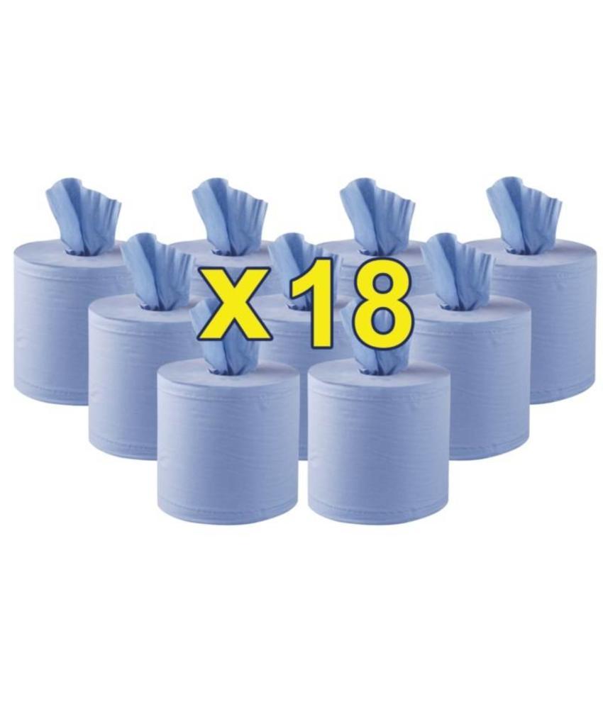 Jantex centrefeed handdoekrollen blauw 18 rollen 18 stuks