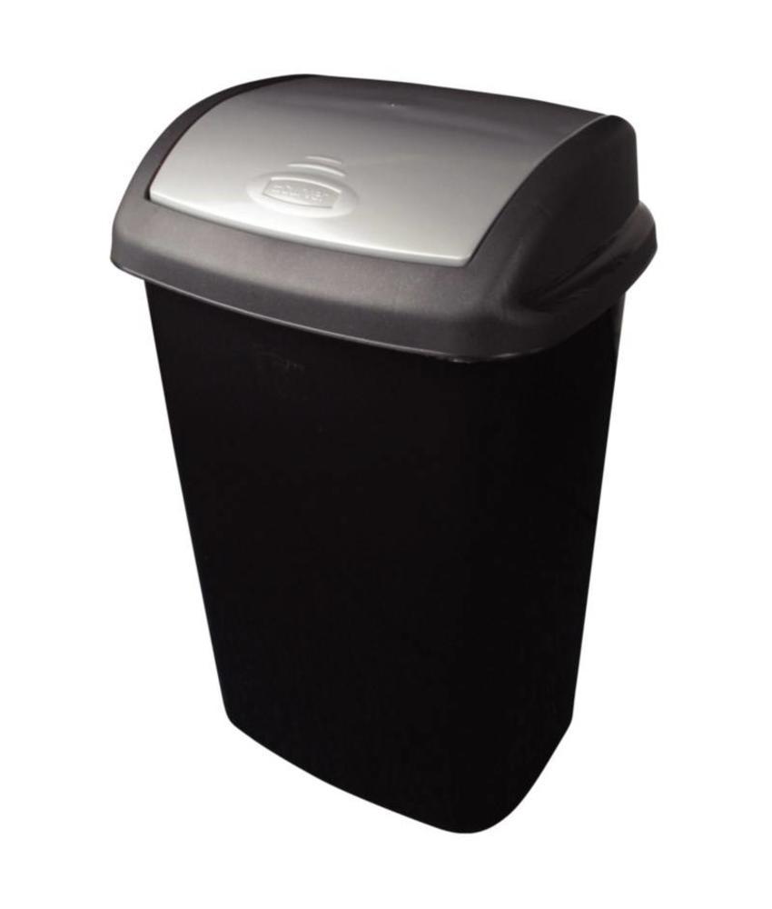 Curver Curver afvalbak met schommeldeksel zwart 25ltr