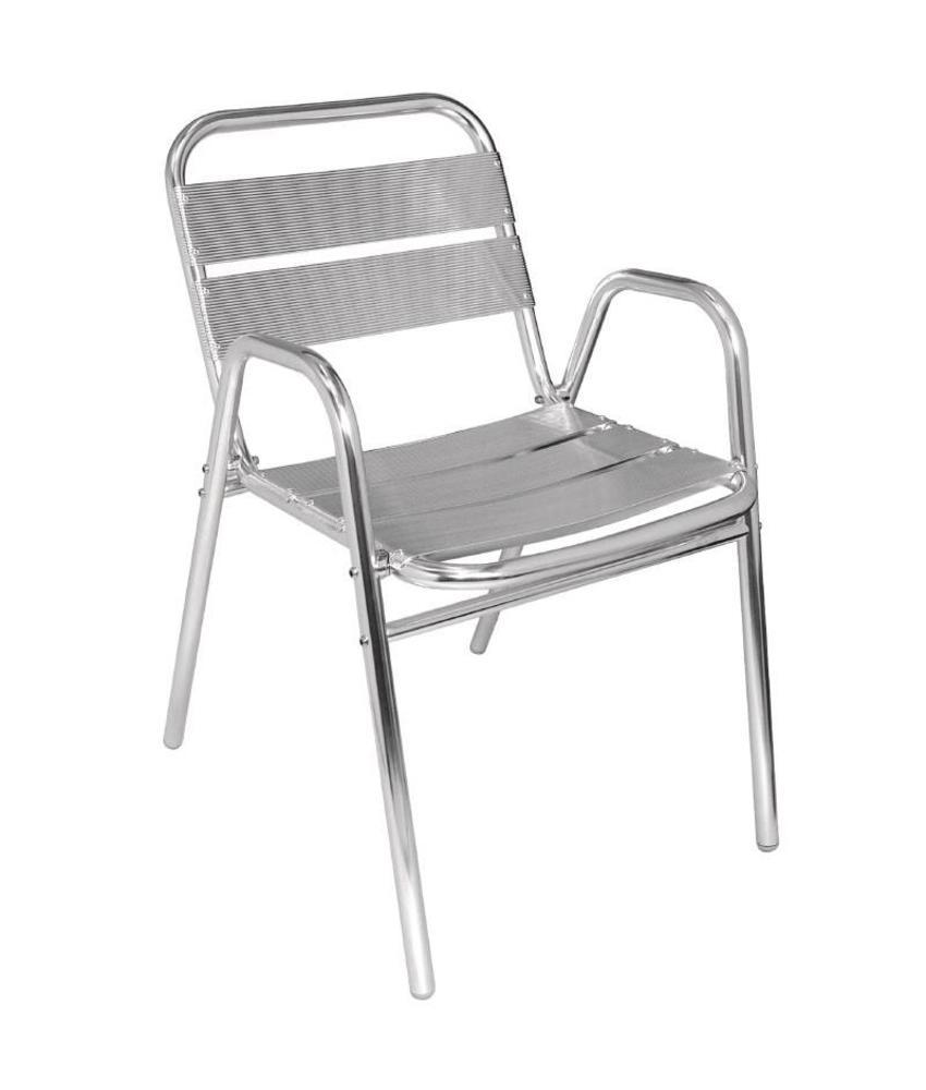 Bolero Bolero stapelbare aluminium stoelen met gebogen armleuning 4 stuks