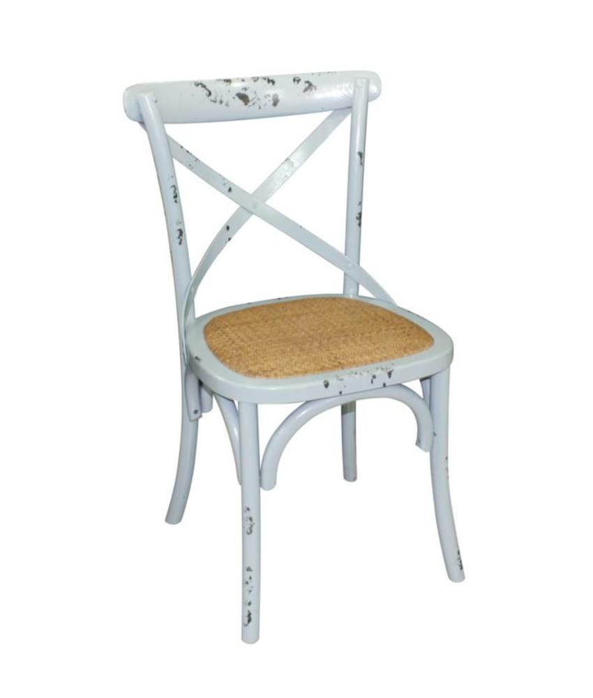 Bolero Bolero houten stoelen met gekruiste rugleuning antiek blue wash (2 stuks) 2 stuks