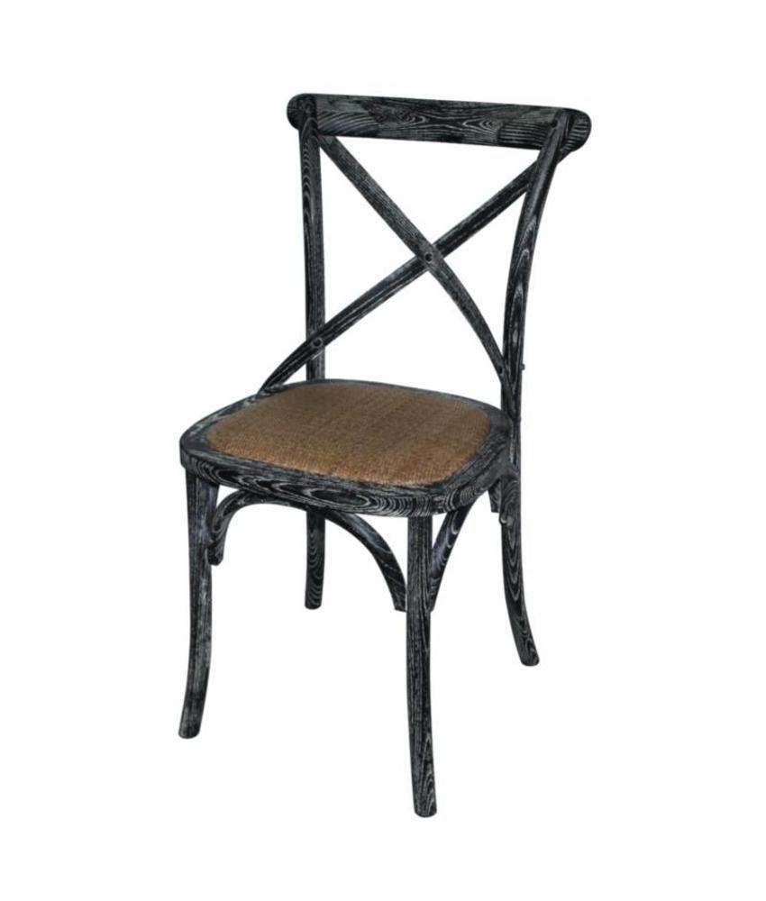 Bolero Bolero houten stoelen met gekruiste rugleuning black wash (2 stuks) 2 stuks