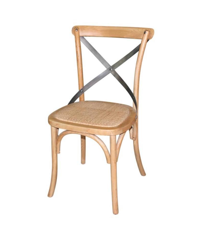 Bolero Bolero houten stoelen met gekruiste rugleuning naturel (2 stuks) 2 stuks