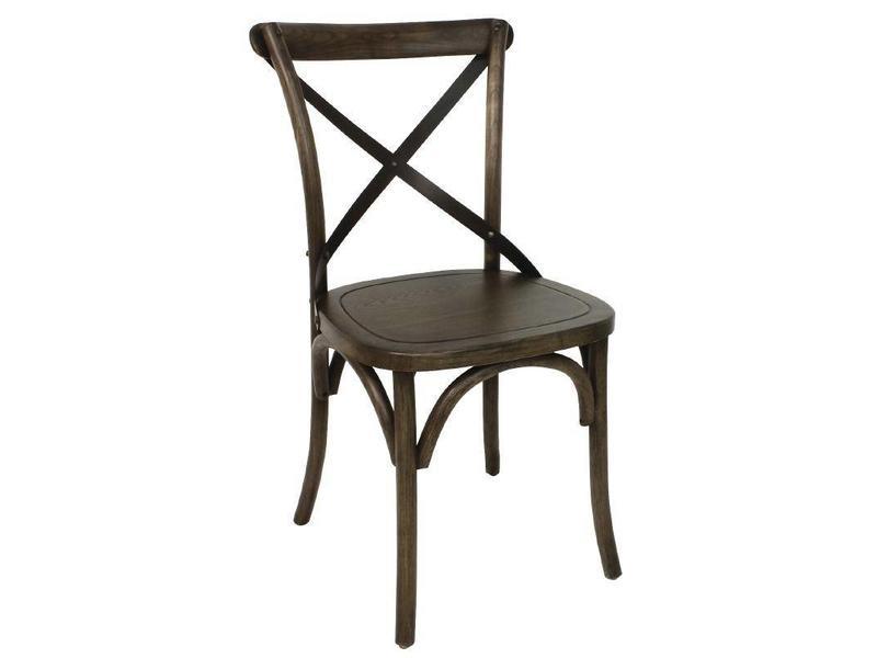 Stoel Met Leuning : Bolero houten stoel met gekruiste rugleuning walnoot stuks