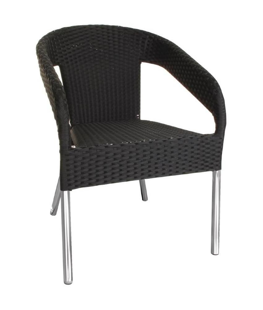 Bolero Bolero kunststof rotan stoel zwart 4 stuks