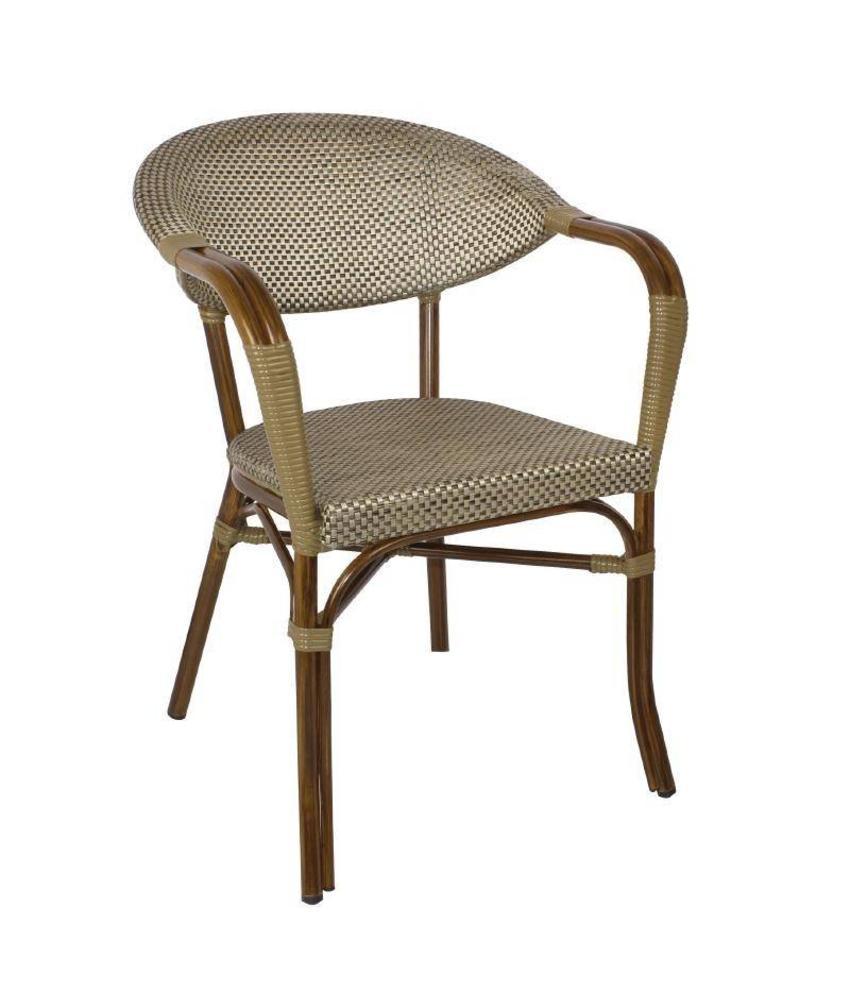 Bolero Bolero kunststof rotan stoelen met armleuning 4 stuks