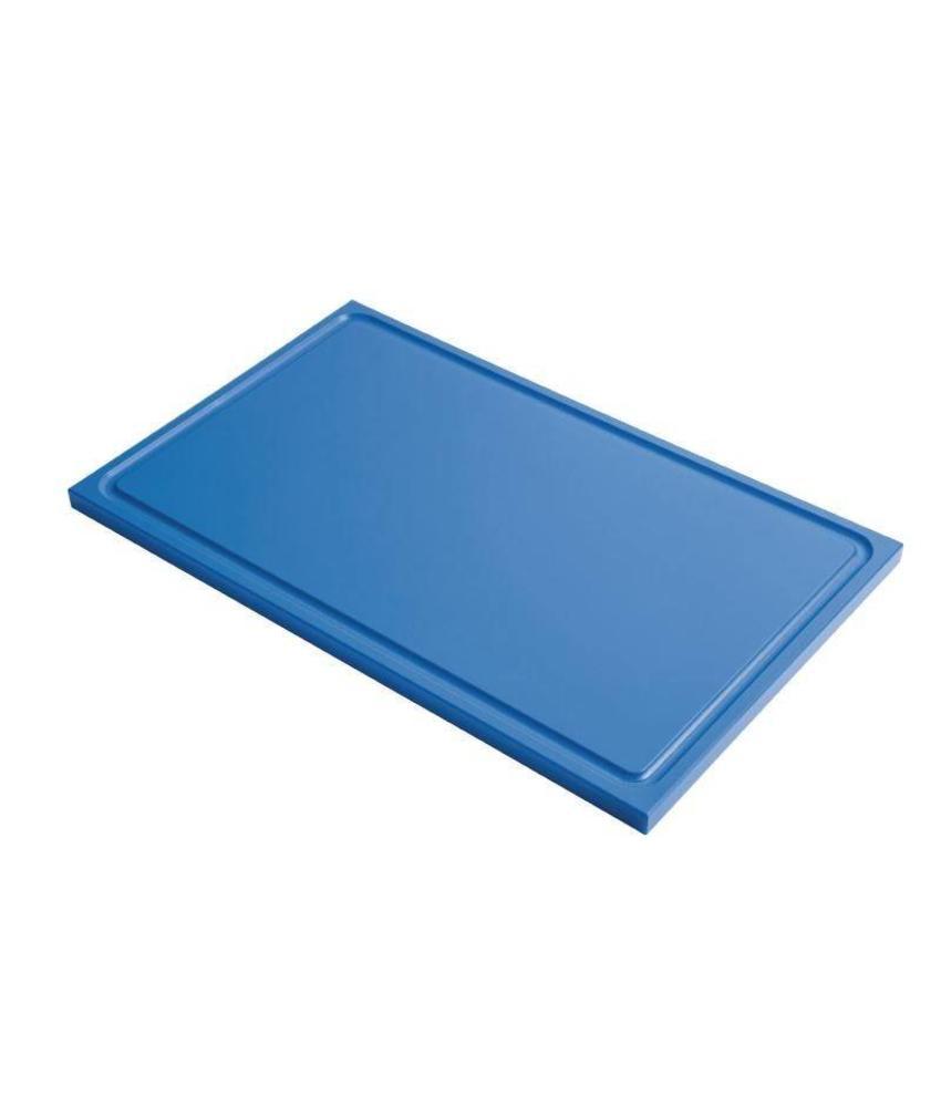 Gastro M Gastro M GN1/1 HDPE snijplank met sapgeul blauw 15mm