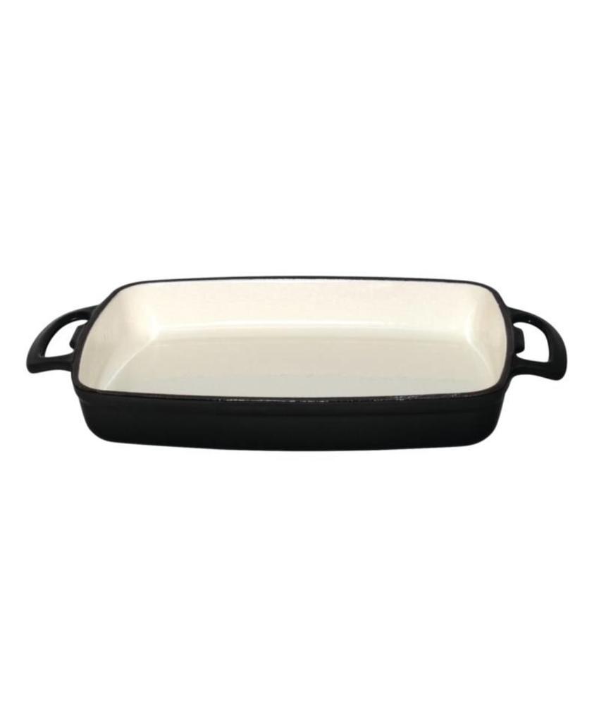 Vogue rechthoekige gietijzeren ovenschaal 2,8L zwart