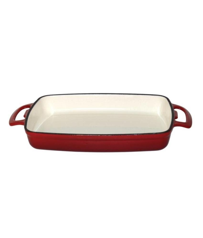Vogue Vogue rechthoekige gietijzeren ovenschaal 2,8L rood