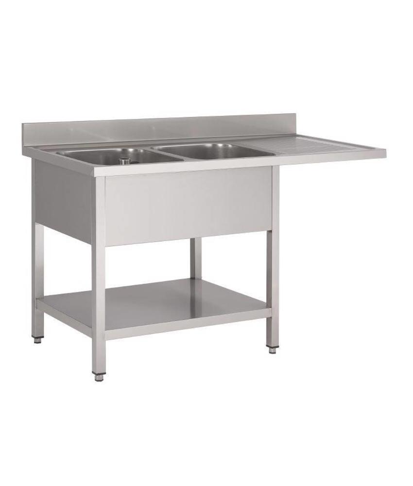 Gastro M Gastro M RVS spoeltafel met ruimte voor vaatwasmachine 160x70x85cm