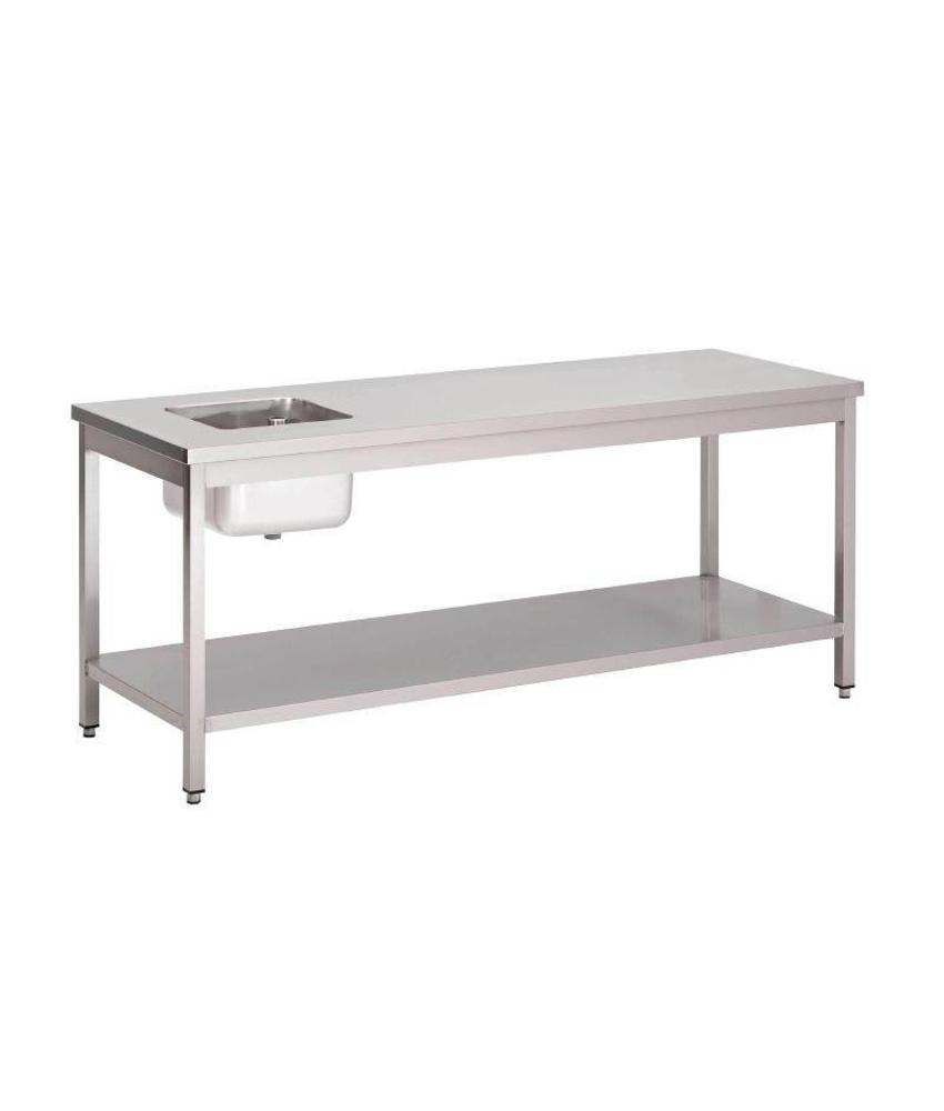 Gastro M Gastro M RVS cheftafel met onderblad 160x70x85cm
