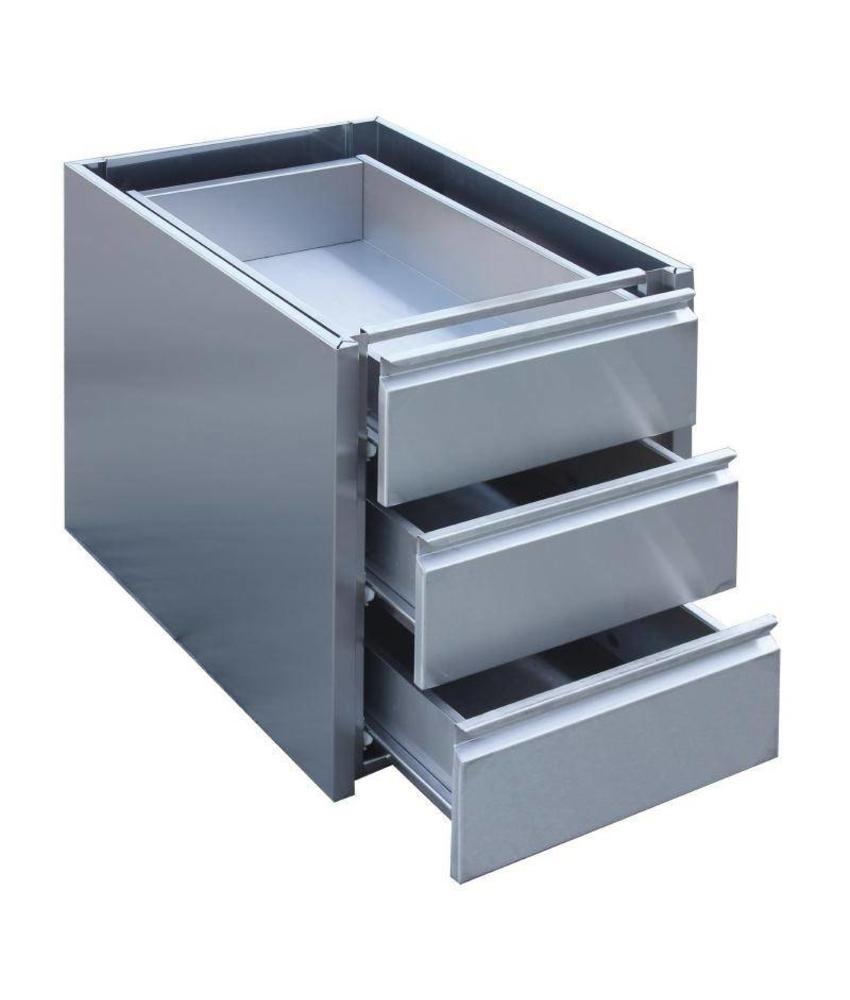 Gastro M Gastro M RVS ladeblok met 3 laden voor onderbouw 45x58x55cm