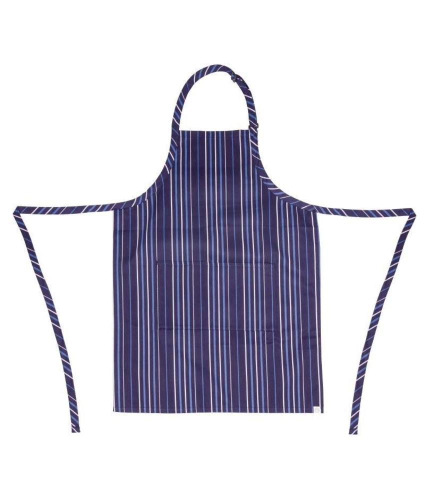 Chef Works Chef Works verstelbare halterschort donkerblauw-blauw gestreept