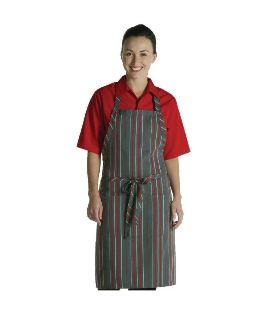 Chef Works Chef Works halterschort rood-grijs gestreept