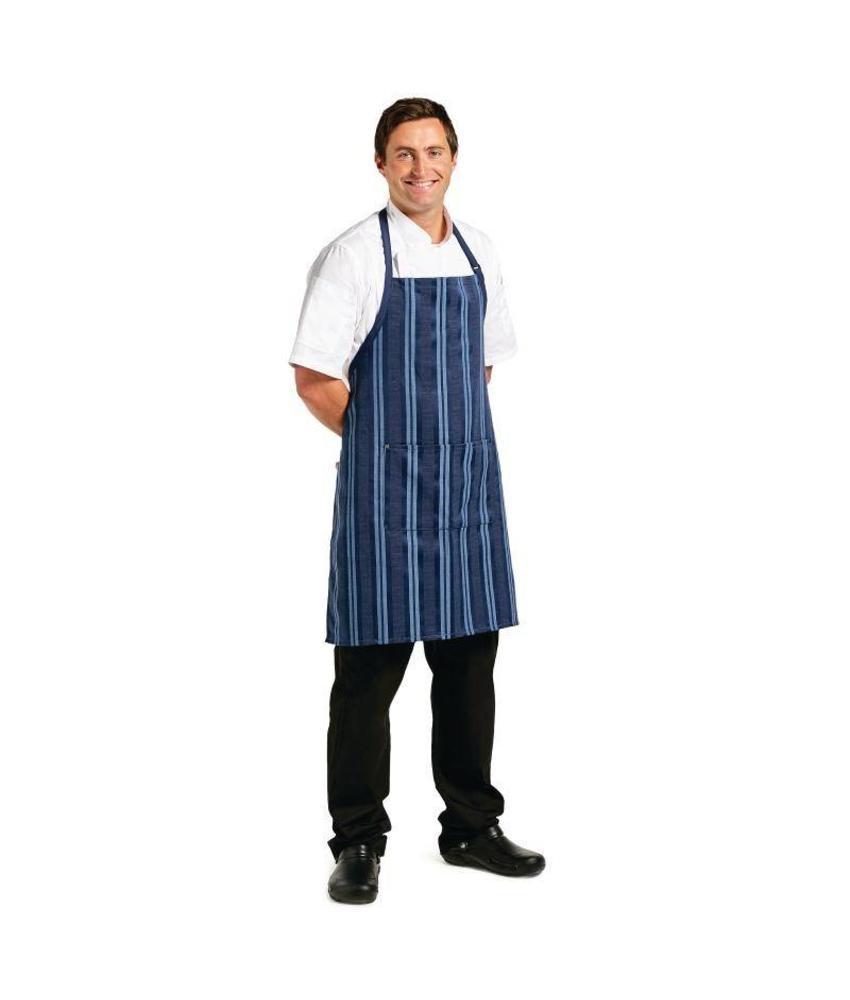 Chef Works Chef Works Urban Presidio kort schort donkerblauw satijn gestreept
