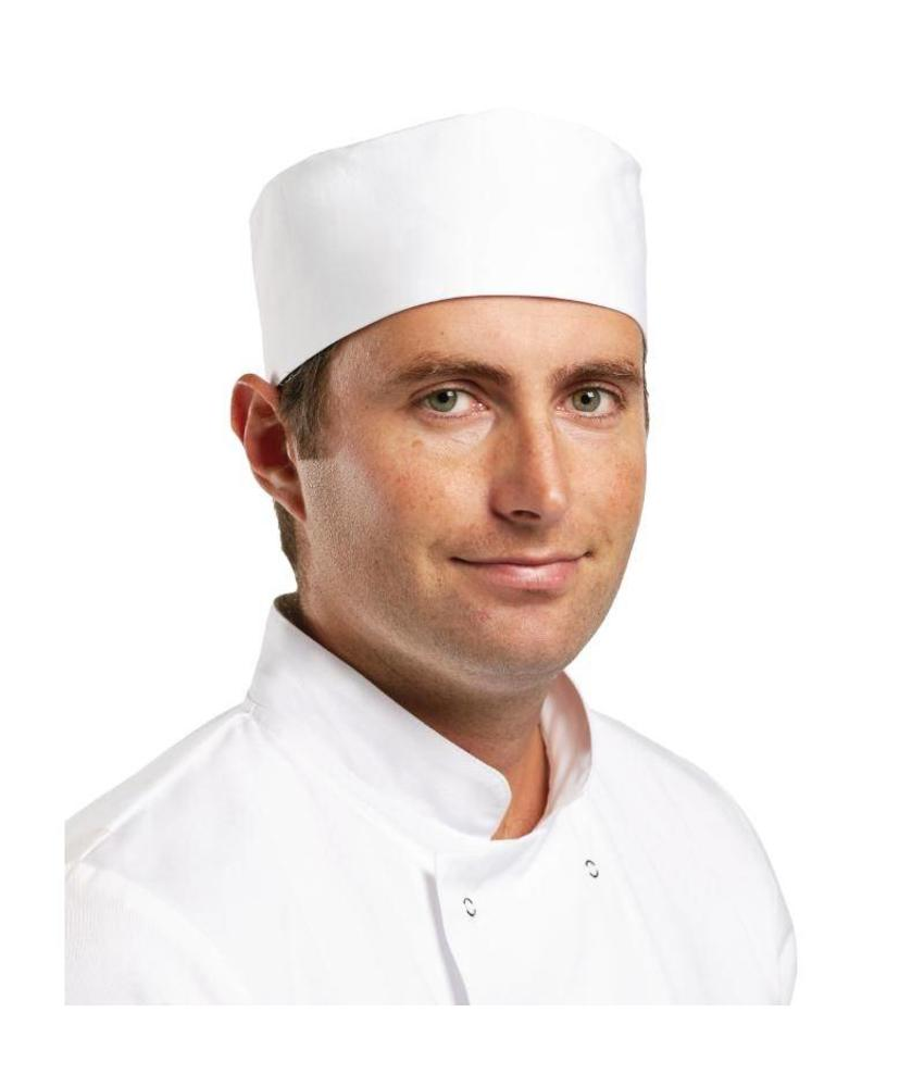 WHITES CHEFS APPAREL Whites skull cap wit L