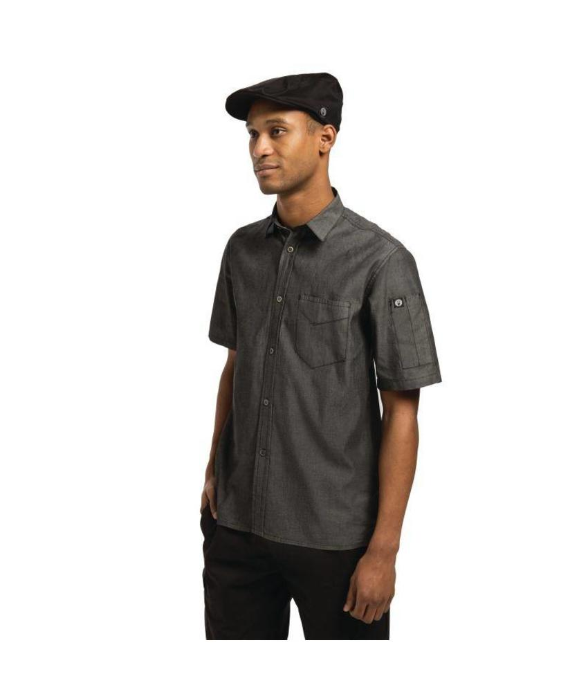 Chef Works Detroit zwart denim shirt korte mouw