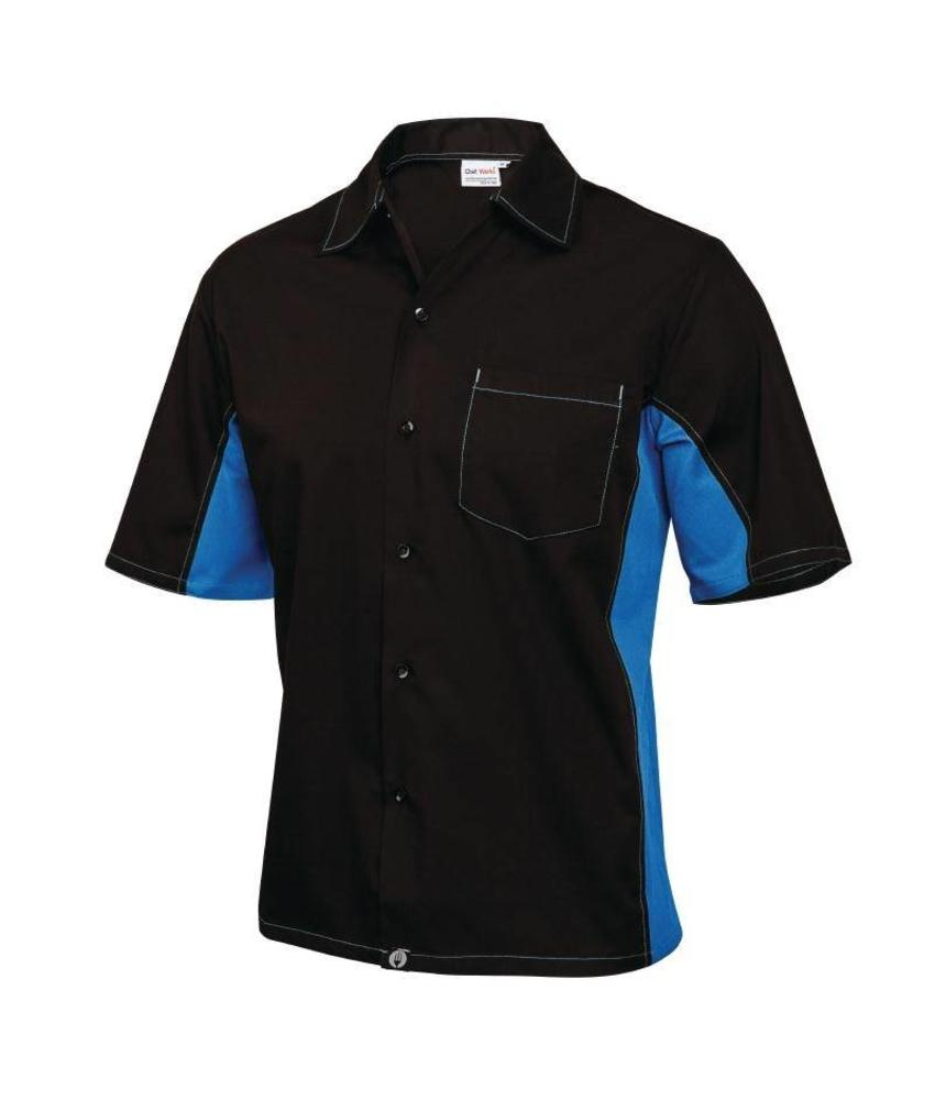 Chef Works Cool Vent contrast shirts zwart & blauw