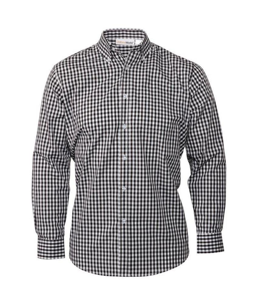 Uniform Works heren Gingham overhemd zwart