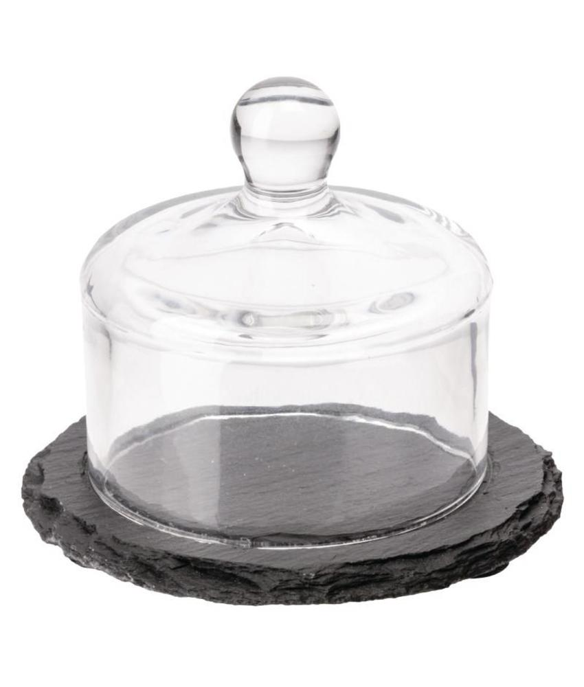 APS Slate botervloot met glazen deksel 105mm leisteen effect