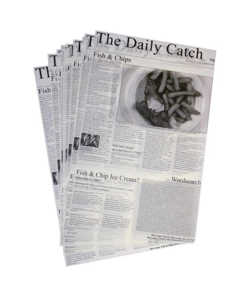 Vetvrij papier krant opdruk 27x42cm (500 vel) 500 stuks