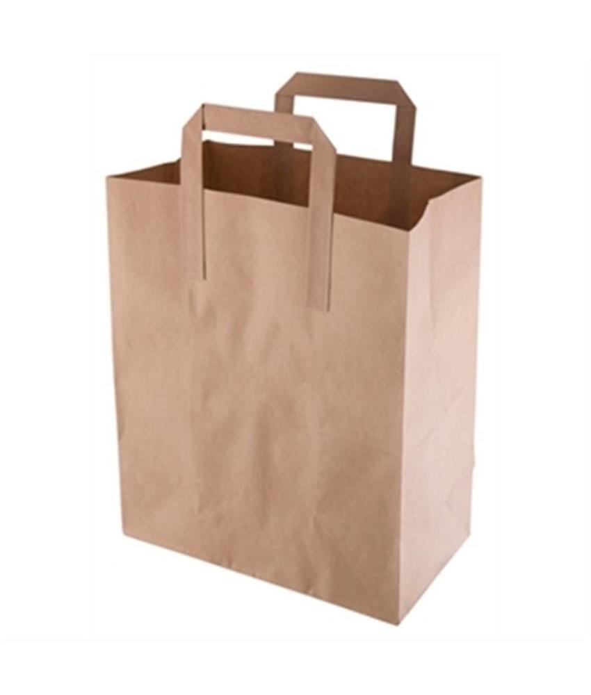 Fiesta Bruine papieren draagzak recyclebaar middelgroot 250 stuks