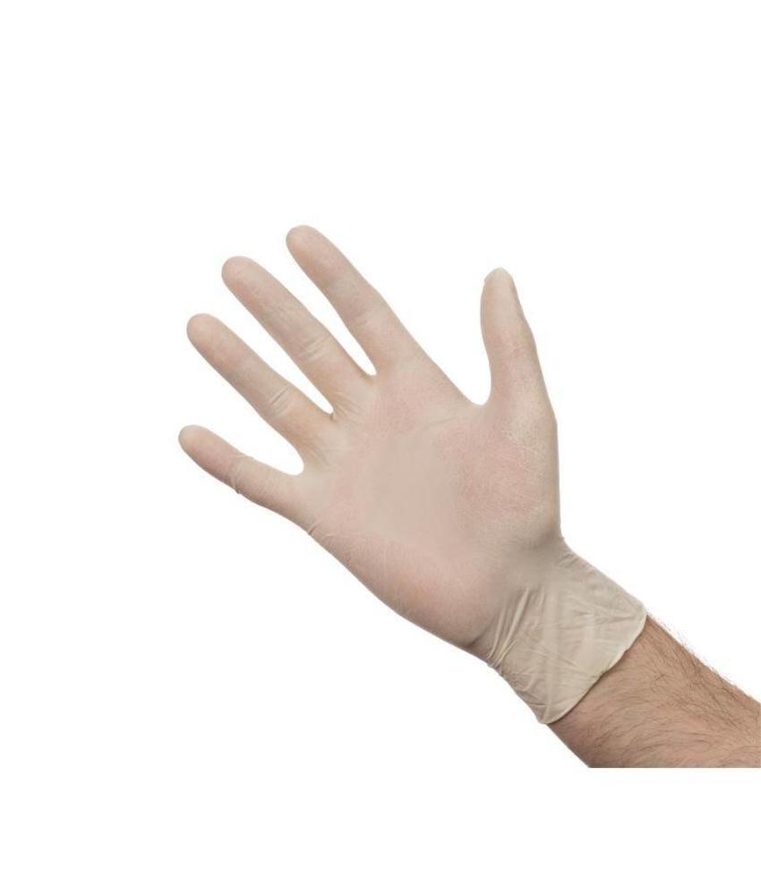 Latex handschoen wit poedervrij S 100 stuks