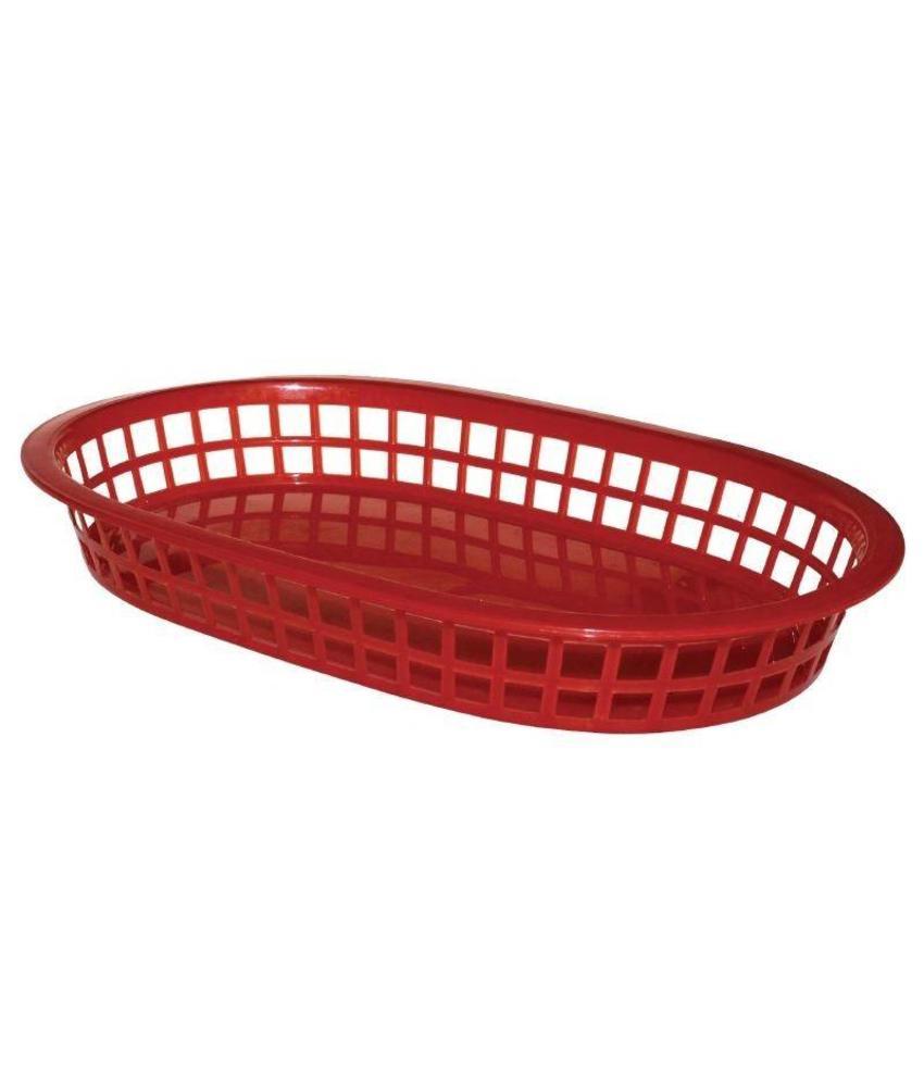 Olympia ovale polypropyleen tafelmandjes rood 6 stuks