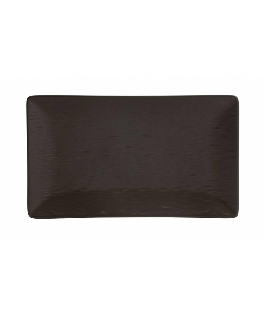Stylepoint Aardewerk bord rechth. reliëf mat bruin 25 x 15 cm 6 stuk(s)