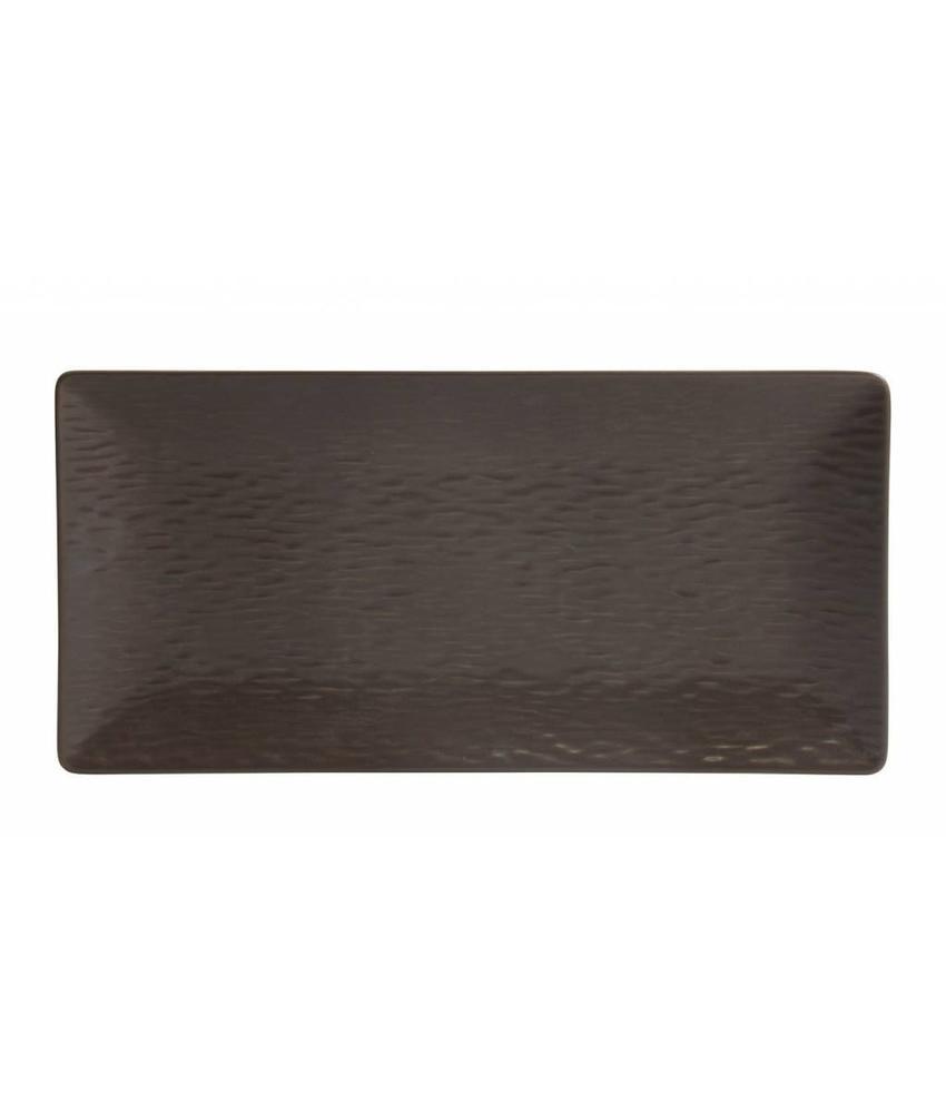 Stylepoint Aardewerk bord rechth. reliëf mat bruin 30 x 15 cm 6 stuk(s)