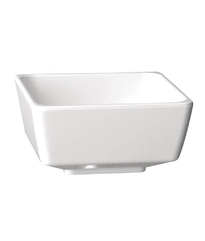 APS Melamine vierkante kom wit 5,5x5,5cm