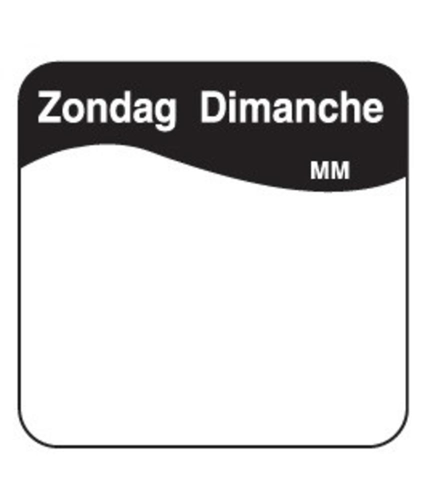Daymark Vol. oplosbare sticker zondag 25 mm 500/rol   1 stuk(s)