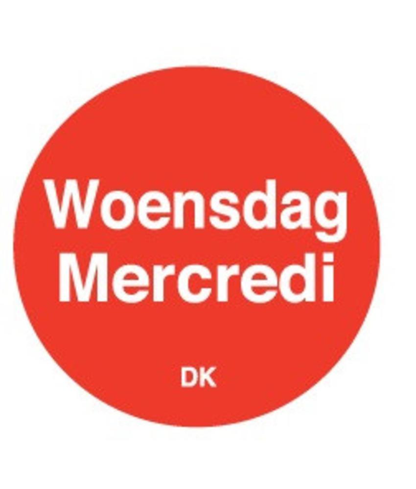 Daymark Permanente sticker woensdag 19 mm 1000/rol 1 stuk(s)