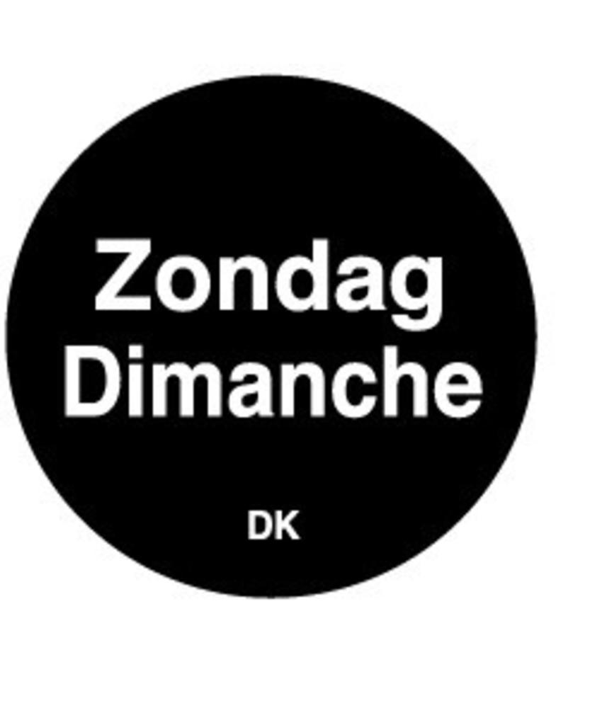 Daymark Permanente sticker zondag 19 mm 1000/rol 1 stuk(s)