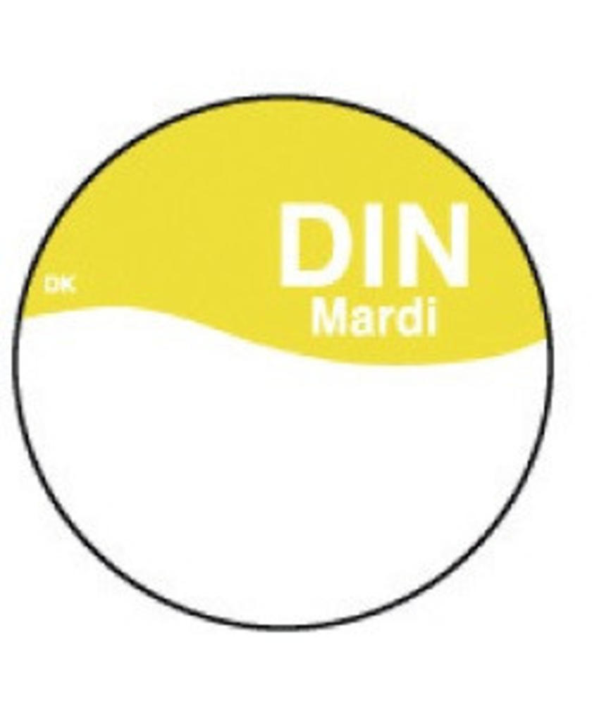 Daymark Perm. sticker m/schrijfvlak dinsdag 19 mm 1000/rol 1 stuk(s)
