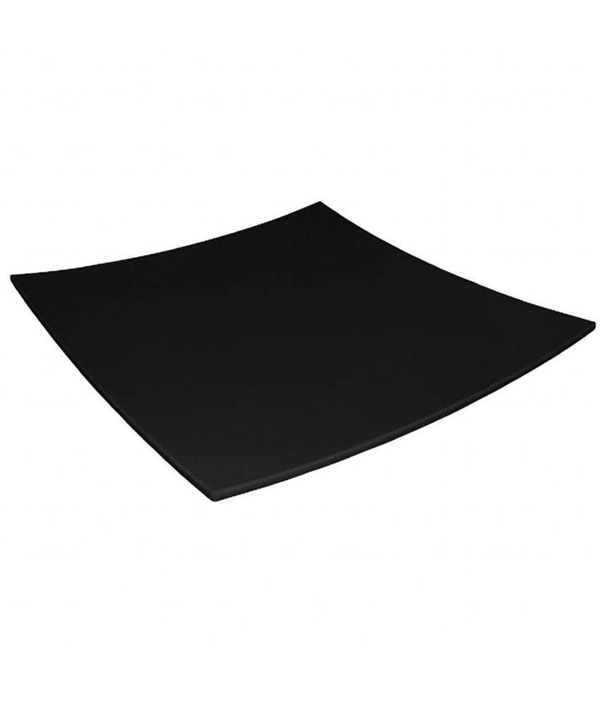 Kristallon Kristallon vierkant bord met gebogen rand zwart 31x31cm