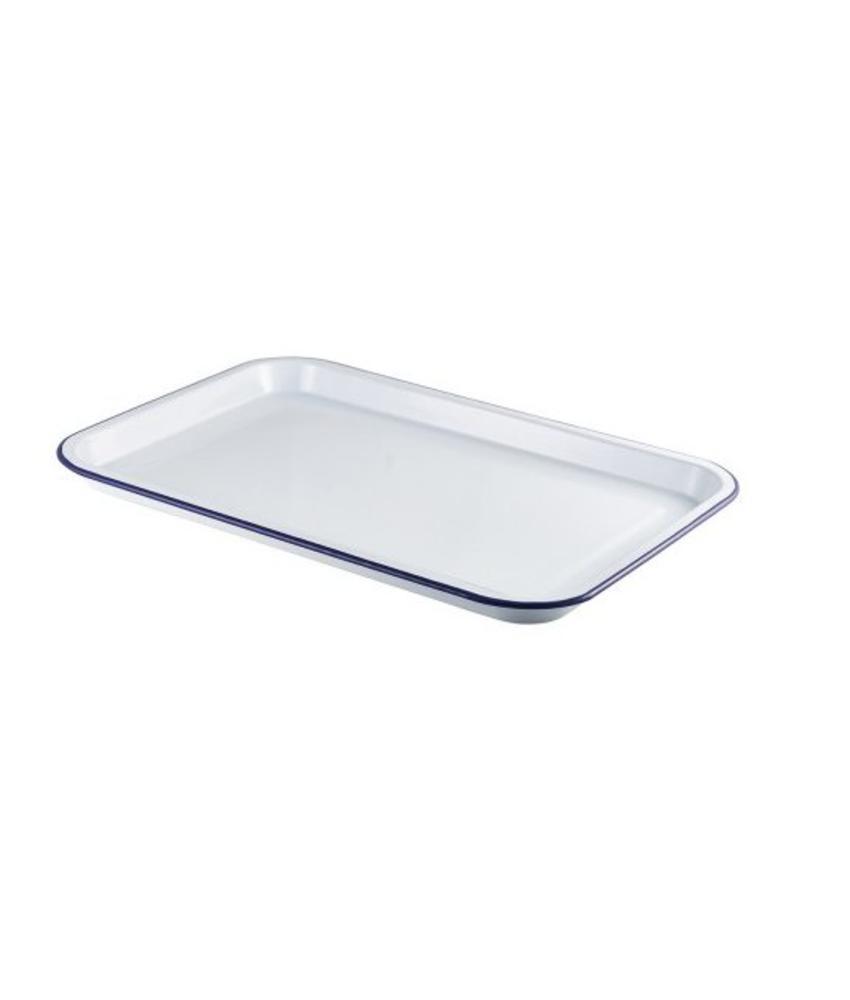 Stylepoint Emaille foodplateau wit/blauw 30,5 x 23,5 cm 4 stuk(s)