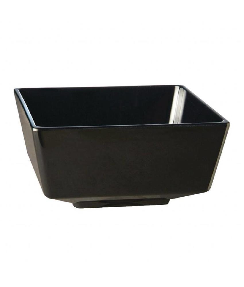APS Melamine vierkante kom zwart 5,5x5,5cm