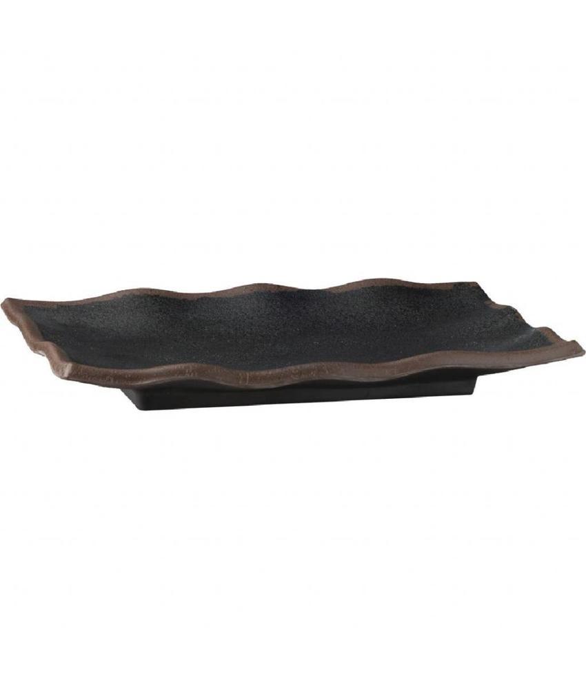 APS Marone melamine gegolfde schaal zwart 22,5x15cm