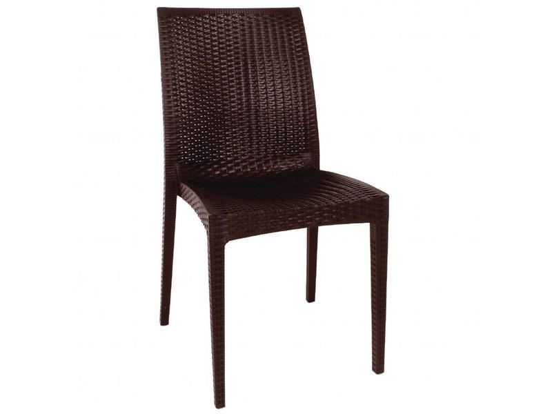 Stoel Zonder Leuning : Bolero bolero kunststof rotan stoel zonder armleuning bruin