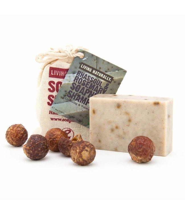 Living Naturally Rhassoul & Rosemary Soapnut Shampoo Bar 90g
