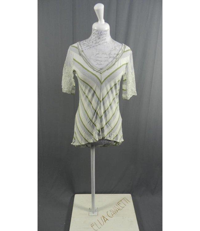 Elisa Cavaletti Sommer-Shirt écru-grün-hellblau