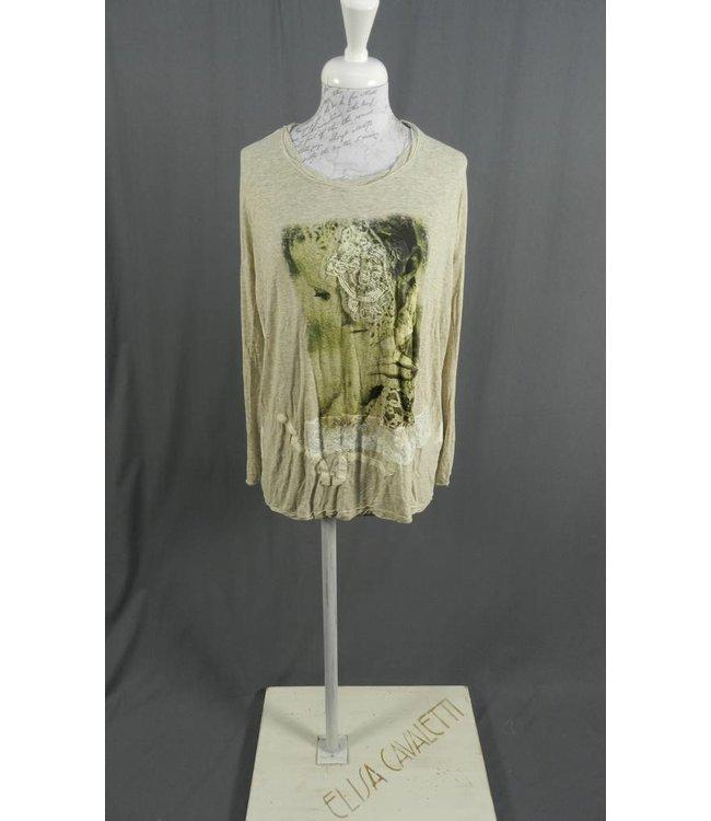 Elly Italia Shirt beige-weiss bedruckt