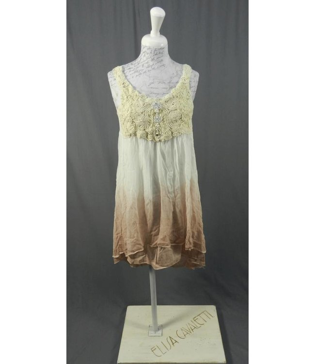 Elisa Cavaletti robe à bretelles en blanc et vieux rose délavés