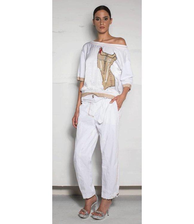 Eleonora Cavaletti T-Shirt weiss-beige bedruckt